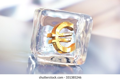 Gold euro symbol frozen in the ice cube. Economy slowdown, currency stagnation or debt freeze creative illustration.