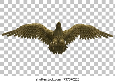 gold Falcon statue Transparent background. 3d rendering with clipping path