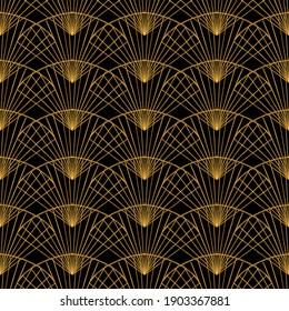 Gold fan pattern in Art Deco style