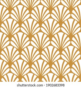 Gold fan seamless pattern. Shell ornate background. Repeated pattern. Repeating elegant golden scale ornament. Abstract floral golden motif for design, cases, prints. Classic great style. Illustration