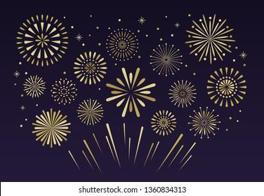 Gold festive fireworks. Christmas pyrotechnics firecracker party, independence anniversary festival firework celebration glitter golden explosion  illustration background
