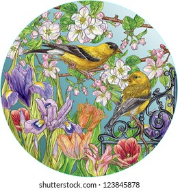 Gold finch & tulips