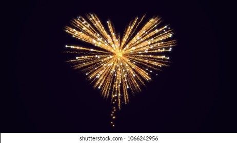 Gold fireworks in the shape of a heart.Shining  glowing sequins. Illustration for married, honeymoon or wedding party.