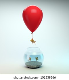 Gold fish flying away from a fishbowl with the help of a balloon