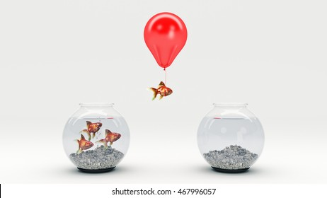 Gold fish flying away from a fishbowl with the help of a balloon. 3d rendering