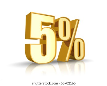 Gold five percent, isolated on white background. 5%