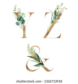 Gold Floral Alphabet Set - letters Y, Z, & ampersand with botanic branch bouquet composition. Unique collection for wedding invites decoration and many other concept ideas.