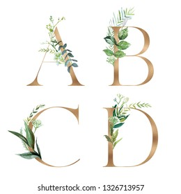Gold Floral Alphabet Set - letters A, B, C, D with botanic branch bouquet composition. Unique collection for wedding invites decoration and many other concept ideas.
