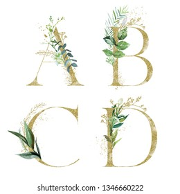 Gold Floral Alphabet Set - letters A, B, C, D with green botanic branch bouquet composition. Unique collection for wedding invites decoration and many other concept ideas.
