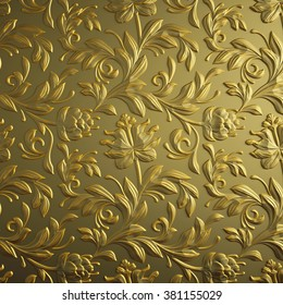 gold floral background, golden foil, embossed flowers pattern, abstract 3d textured paper