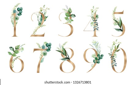 Gold Floral Number Set - digits 1, 2, 3, 4, 5, 6, 7, 8, 9, 0 with botanic branch bouquet composition. Unique collection for wedding invites decoration & other concept ideas.