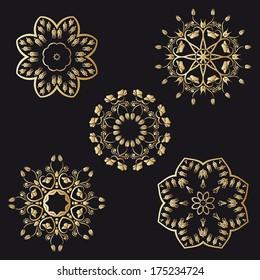Gold floral round ornaments on black background. Raster version.