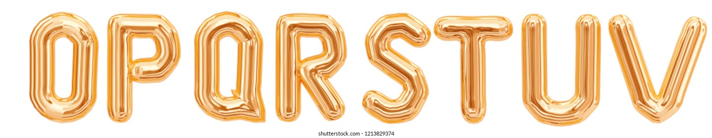 Gold foil alphabet, letters O, P, Q, R, S, T, U, V isolated on white background. 3d rendering