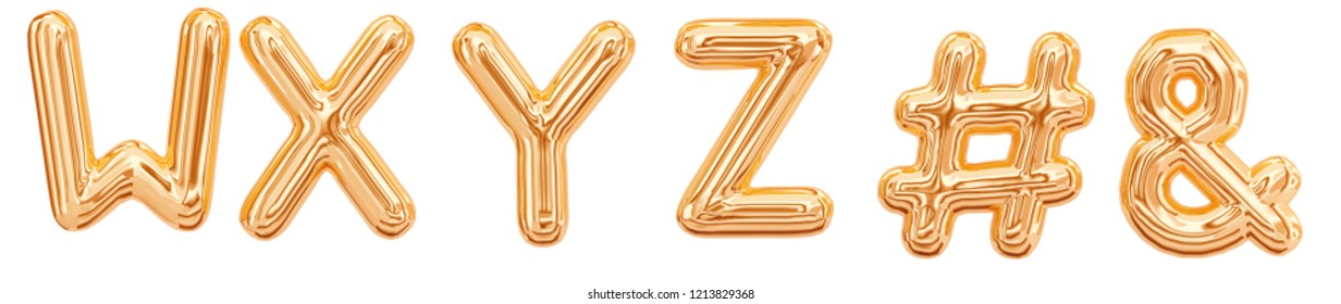 Gold foil alphabet, letters W, X, Y, Z, ampersand, octothorpe, hashtag isolated on white background. 3d rendering