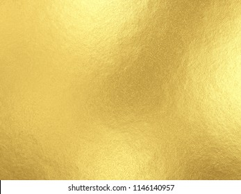 Gold foil background with light reflections. Golden textured wall. 3D rendering.