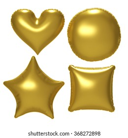 Gold foil balloon set with clipping path