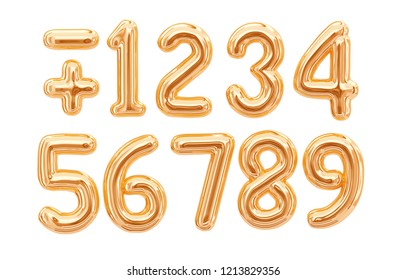Gold foil numbers, 1, 2, 3, 4, 5, 6, 7, 8, 9 isolated on white background. 3d rendering