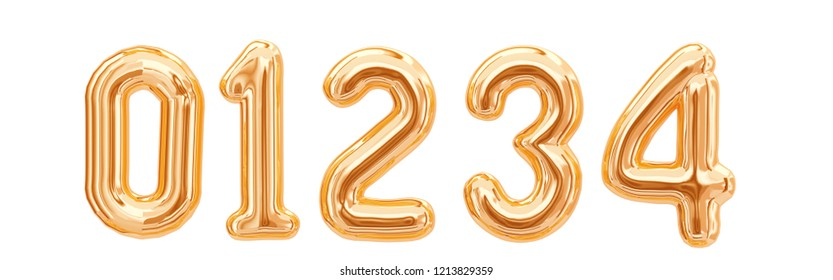 Gold foil numbers, 1, 2, 3, 4, 0 isolated on white background. 3d rendering