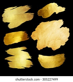 Gold Foil Shining Paint Stain Hand Drawn Illustration