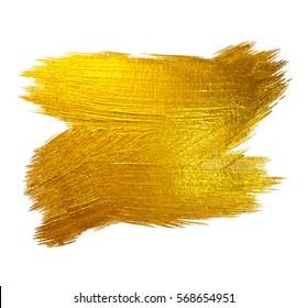 Gold Foil Stroke Shining Paint Stain Hand Drawn Raster Illustration. White illustration.