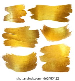 Gold Foil Watercolor Texture Paint Stain Abstract Illustration. Shining Brush Stroke Set for you Amazing Design Project. Isolated on White Background