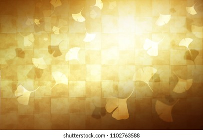 Gold folding screen and ginkgo (Japanese traditional beauty)