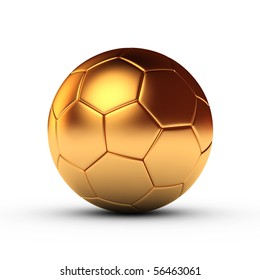 Gold football isolated on white background