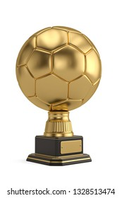 Gold football trophy isolated on white background 3D illustration.