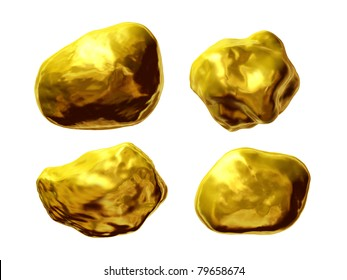gold, four gold nuggets, pure gold, gold pieces
