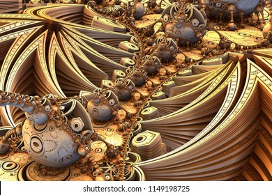 Gold fractal landscape - layered star patterns on each side of the image, recursive spheres lined up between the star patterns with different iterative geometric patterns. Gold and yellow scheme
