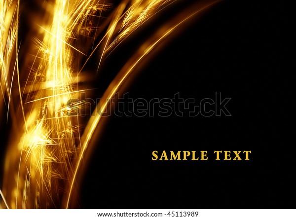 Gold fractal sparkle on black