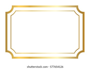 Gold frame. Beautiful simple golden design. Vintage style decorative border, isolated on white background. Deco elegant art object. Empty copy space for decoration, photo, banner. illustration.