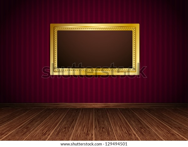 Gold frame hanging on a red wall. Raster version.