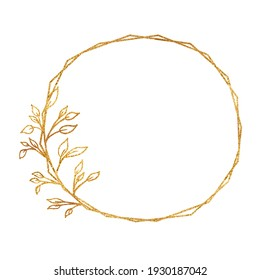 Gold frame isolated on a white background. Holiday cards. Wedding invitations.