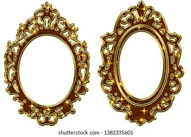 gold frame on a white background