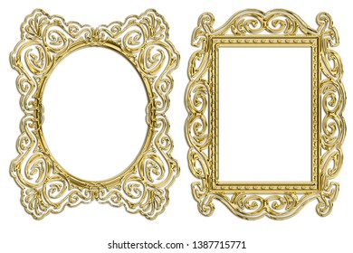 gold frame  on a white background.