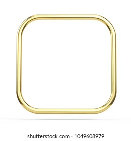 Gold frame square with rounded corners isolated on white. 3d rendering