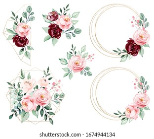 Gold frames set, wreath border and blossom arrangement. Watercolor flowers hand painting, floral geometric background. Clip art isolated on white background.