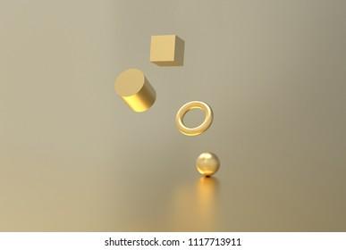 Gold geometric shape form floating 3d rendering