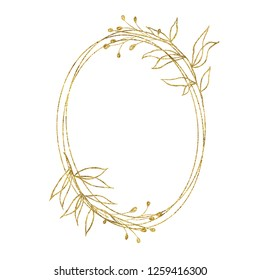 Gold geometrical round oval frame with flower leaves isolated on white background. Illustration for cards, wedding invitations
