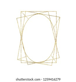 Gold geometrical triangular oval frame isolated on white background. Illustration for cards, wedding invitations