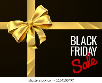 A gold gift bow ribbon Black Friday Sale sign. Not a 3D render