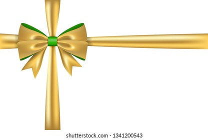 Gold gift bow ribbon. Golden bow tie isolated on white background. 3D shiny gift bow tie for Christmas present, holiday decoration, birthday. Silk ribbon for invitation illustration