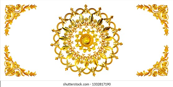 gold gilded baroque pattern on white background
