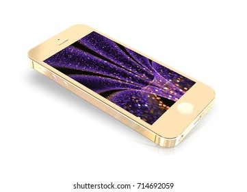 Gold Glamorous Smartphone Mockup with Amazing Screen for Design Project - Mock Up 3D illustration Isolate on White Background