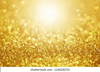 gold glitter with abstract heart shape background for Valentine and Christmas