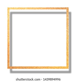 Gold glitter frame for card or photo ,template,Christmas and new year and holiday background,gold rectangle border