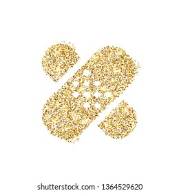 Gold glitter icon of bandaid isolated on background. Art creative concept illustration for web, glow light confetti, bright sequins, sparkle tinsel, abstract bling, shimmer dust, foil.