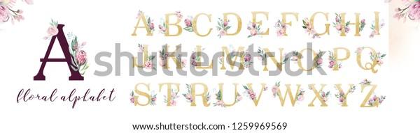 Gold Glitter Letter Alphabet Isolated Golden Stock