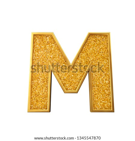 Royalty Free Stock Illustration of Gold Glitter Letter M Shiny